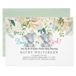 Elephant gender reveal Invitation Botanical