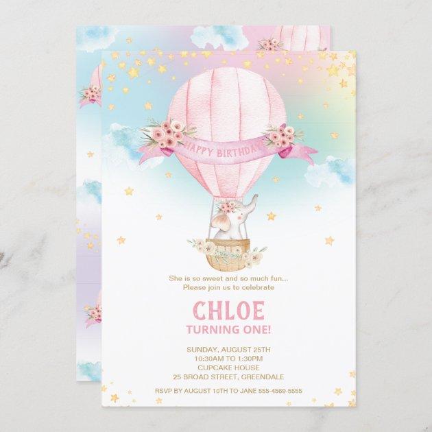 elephant hot air balloon 1st birthday girl invitation zazzle com