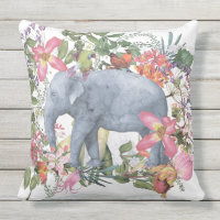 Elephant in flower jungle throw pillow