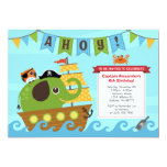 ❤️ Elephant Pirate and Owl Birthday Invitation