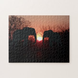 Elephant Sunset Silhouette Photo Puzzle