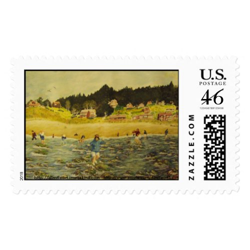 Elizabeth at the beach stamp