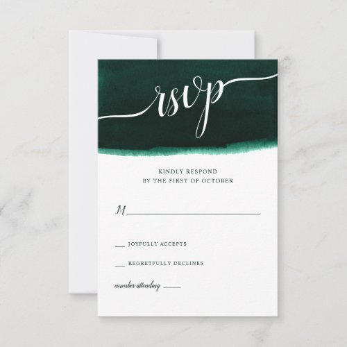 Emerald Green Watercolor Wedding RSVP Card
