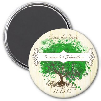 Emerald Heart Leaf Tree Save the Date Magnets