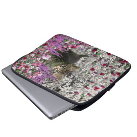 Emma in Flowers I – Little Gray Kitten Computer Sleeve