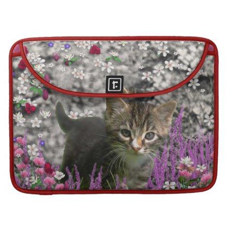 Emma in Flowers I – Little Gray Kitten Sleeve For MacBook Pro
