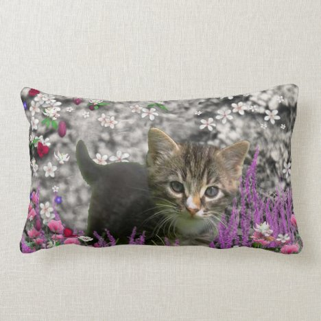 Emma in Flowers I – Little Gray Kitty Cat Lumbar Pillow