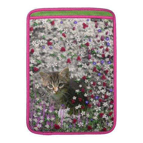 Emma in Flowers II, Little Gray Tabby Kitty Cat MacBook Sleeve