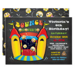 ❤️ Emoji Chalkboard Bounce House Birthday Party Invitation