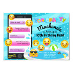 ❤️ Emoji Pool Party Birthday Invitations