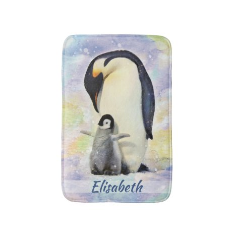 Emperor Penguin with Baby Chick Watercolor Bath Mat