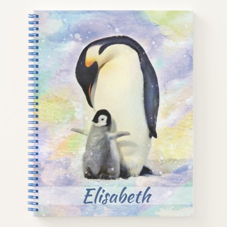 Emperor Penguin with Baby Chick Watercolor Notebook
