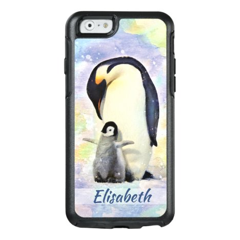 Emperor Penguin with Baby Chick Watercolor OtterBox iPhone 6/6s Case