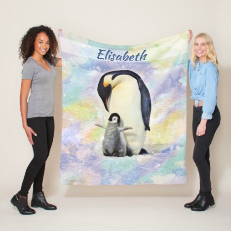 Emperor Penguin with Baby Watercolor Personalized Fleece Blanket
