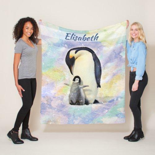 Emperor Penguin with Baby Watercolor Personalized Fleece Blanket