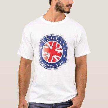 England Welcomes You Vintage Postage Seal T-Shirt