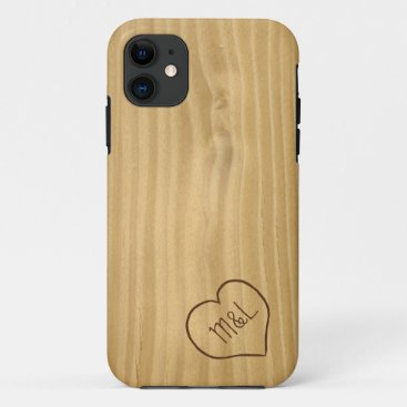 Engraved Heart and Initials on Wood Grain texture iPhone 11 Case