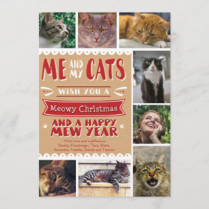EPIC Me and My Cats Christmas 5x7 Card (8 Images)