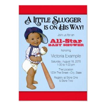 Ethnic Boy Baseball Baby Shower Invitation
