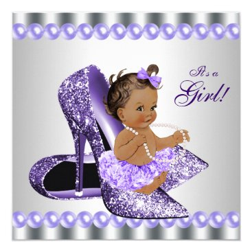 Ethnic Girl Purple Gray High Heel Shoe Baby Shower Invitation