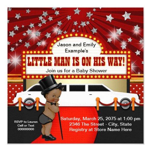 Ethnic Little Man Limousine Movie Star Baby Shower Card