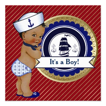 Ethnic Sailor Boy Nautical Baby Shower Invitation