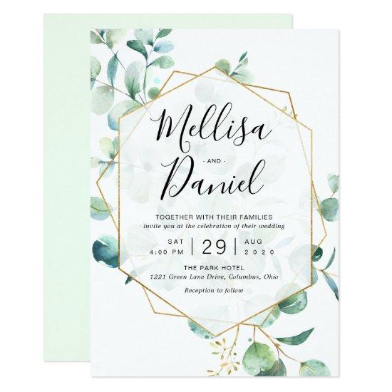 Eucalyptus Greenery Geometric Wedding Invitation