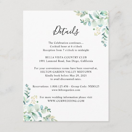 Eucalyptus Greenery Guest Information Enclosure Card