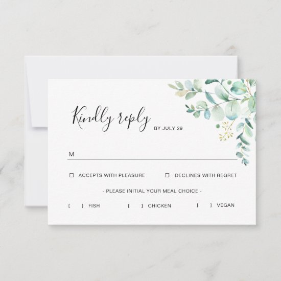 Eucalyptus Greenery Rsvp Card with Meal Options