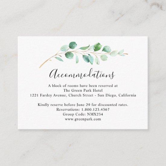 Eucalyptus Greenery Wedding Accommodation Enclosure Card