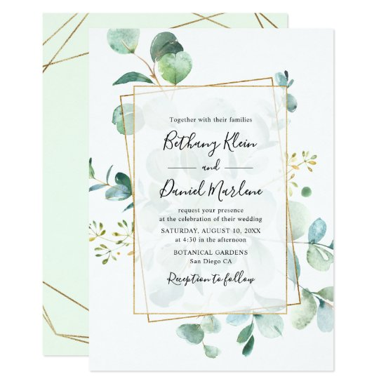 Eucalyptus Greenery with Geometric Frame Wedding Invitation