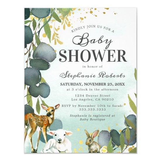 Eucalyptus Woodland Animals Baby Shower Invitation