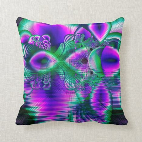 Evening Crystal Primrose, Abstract Night Flowers Throw Pillow