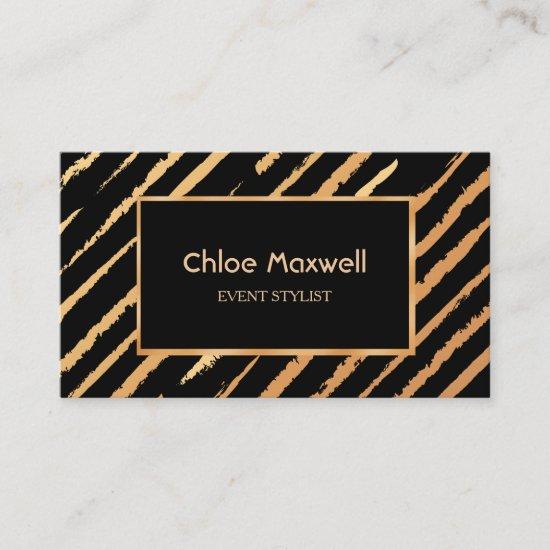 Exquisite Gold Black Stripe Minimalist Business Card