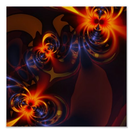 Eyes & Swirls – Amber & Indigo Delight Poster