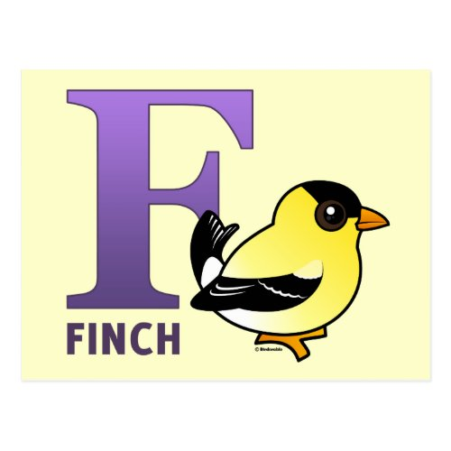 F is for Finch Postcard