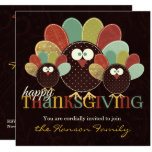 Fabric Turkey Family Thanksgiving Gathering Invitation