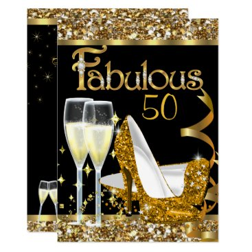 Fabulous 50 Fantastic Birthday Party Gold Black Card