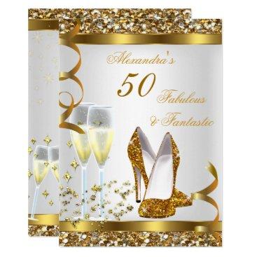 Fabulous 50 Fantastic Gold Heels Birthday Party Invitation