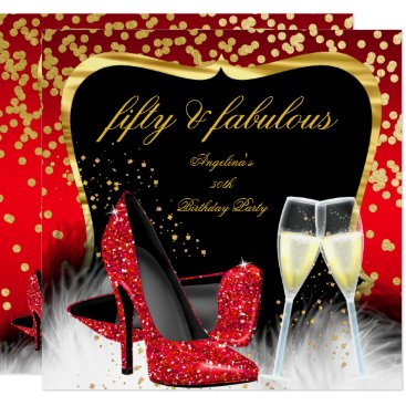 Fabulous 50 Party Red Gold Champagne Glitter Heels Card