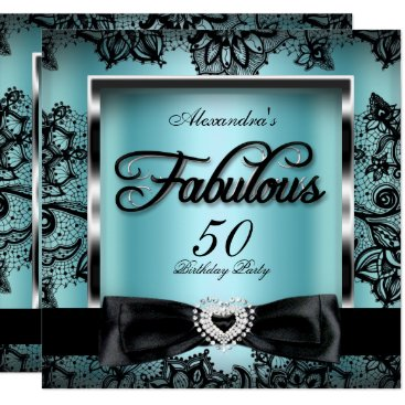 Fabulous 50 Party Teal Blue Damask Black Lace Card