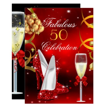 Fabulous 50 Red Gold High Heel Champagne Party Card