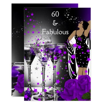Fabulous 60 60th Birthday Purple Roses Martini Card