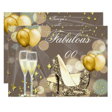 Fabulous Gold Beige Champagne Birthday Party 2 Invitation