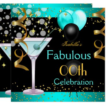 Fabulous Teal Blue Martini Gold Birthday Party Invitation