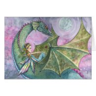 Fairy Dragon Blank Card by Molly Harrison
