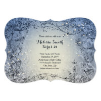 Fairy Lights Whimsy Blue Birthday Party Invitation