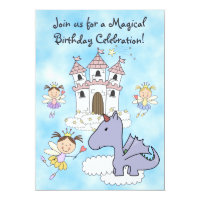 Fairy Princess, Castle and Dragon Birthday Invite