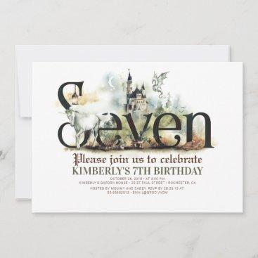 Fairytale Unicorn Dragon Magic Castle 7th Birthday Invitation
