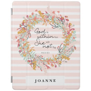 Faith Based Psalms Floral Wreath Flowers Pink iPad Smart Cover